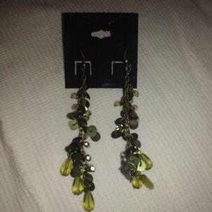 Long Olive Green Earrings